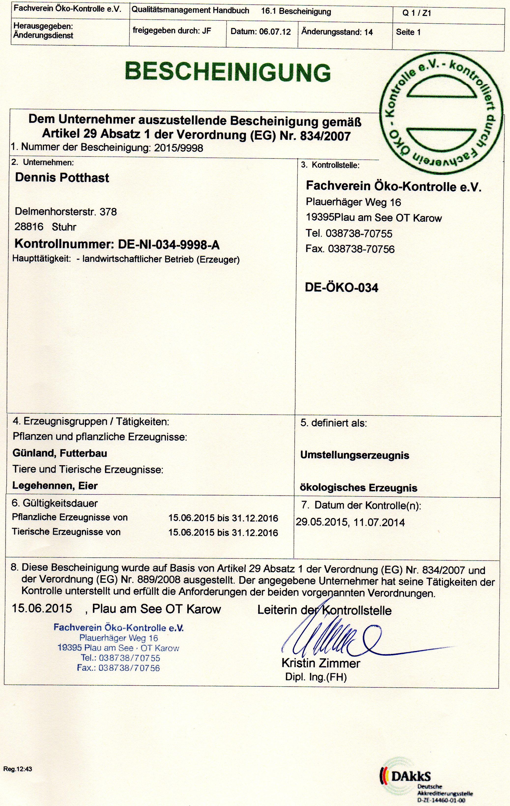 Zertifizierung nach EU-Bio